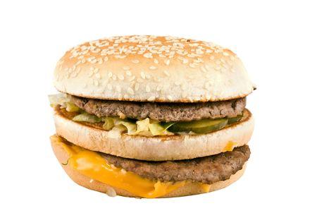 Hamburger con formaggio e carne su uno sfondo bianco Archivio Fotografico