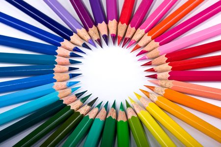 Bright multi-coloured circle, rainbow from pencils photo