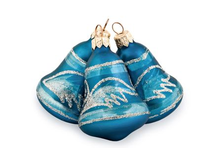 Blue Christmas hand bells on a white background photo
