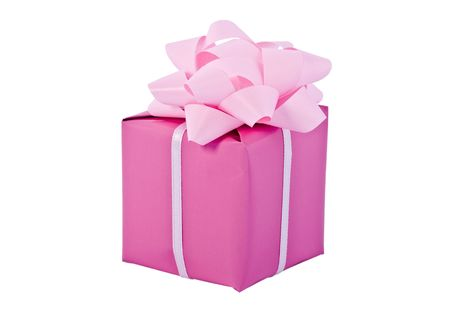 Gift packing, pink box, on a white background photo