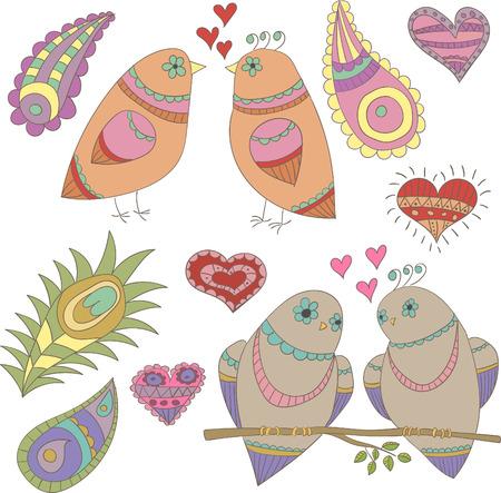 innamorati che si baciano: Raccolta di vettore uccelli, piume e cuori per il design Vettoriali