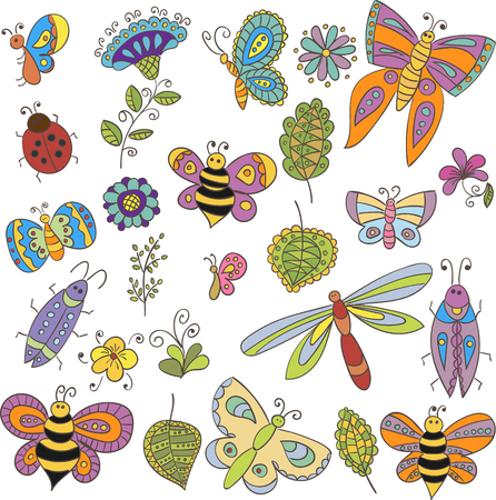 butterfly background: Collection of vector bugs, butterflies s and flowers for design