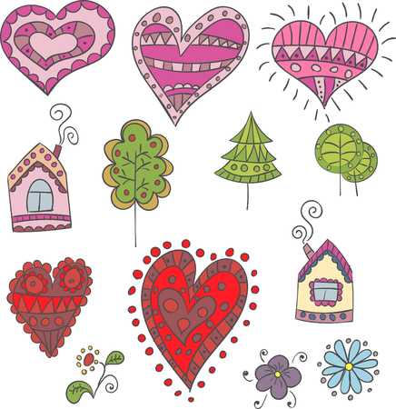 human hand: Collection of vector hearts, houses and flowers for design Illustration