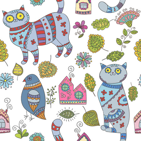 house pet: Seamless vector pattern with cats, birds, leaves and flowers
