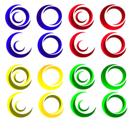 A set of multicolored round logos. Vector image.