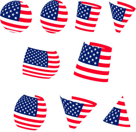 A set of figures painted with the US flag. Vector image with the ability to edit.