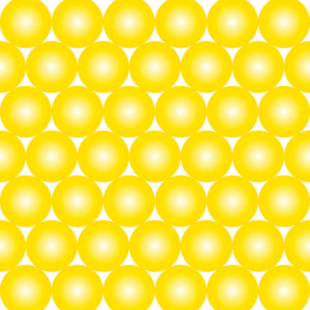 Pattern of many yellow balls on light background. Vector image. Banque d'images - 152543696