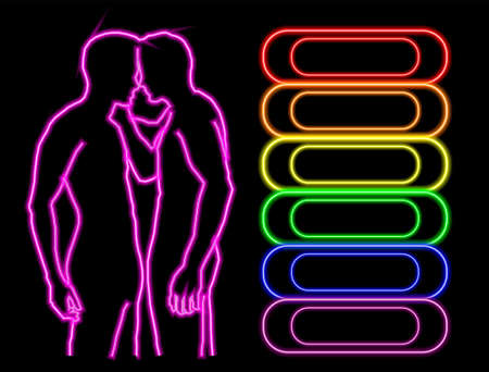 Gay bar neon banner Ilustrace