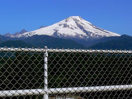 fenced: Fenced Mountain Stock Photo
