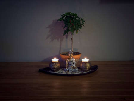 ornamental zen garden for the home, coupled with a bonsai creates a relaxing atmosphere for meditation and to take away the stress of the working week