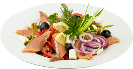 Salmon salad on isolated-background photo