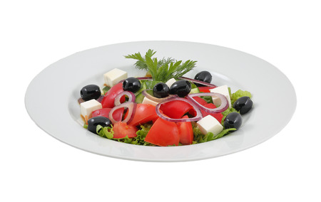 Salad with olives, sweet peppers and feta cheese on an isolated background photo