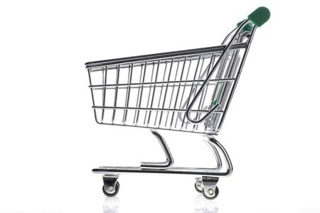 supermarket checkout: Empty shopping cart isolated on white background