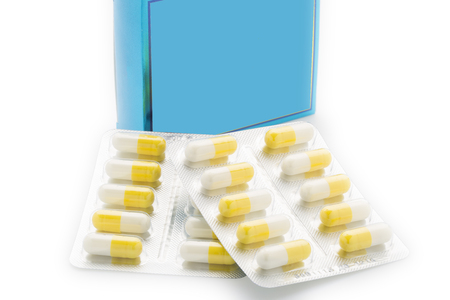 pill box: Yellow capsules pill blister pack and blue pill box