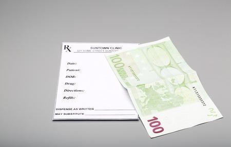 one hundred euro banknote: Blank prescription and one hundred euro banknote