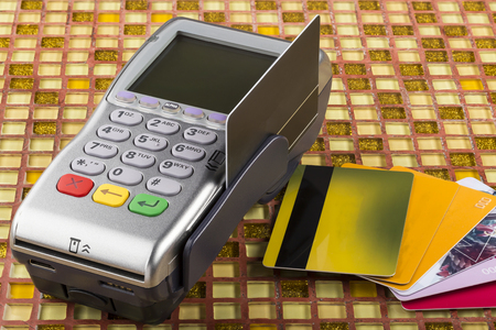gprs: Wireless payment mobile gprs terminal and stack of plastic card