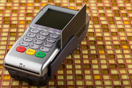 gprs: POS payment mobile gprs terminal with blank card Stock Photo