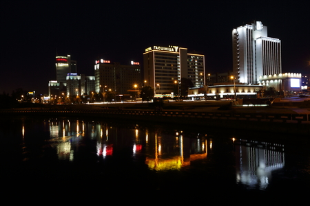 minsk: MINSK, BELARUS - 06 AUGUST: I took a picture of the night Minsk houses from the observation deck