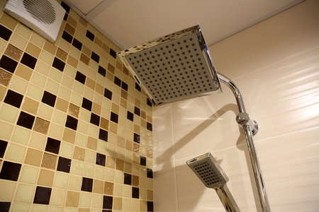 chromeplated: Idea of the shower design in the tiled bathroom