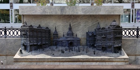 slavic: The Old Slavic russian city in miniature. Sculpture made of cast iron and bronze Stock Photo