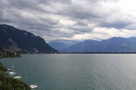 and the magnificent: The magnificent Lake Geneva in the summer. View from the city of Montreux, Switzerland