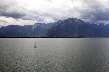 montreux: The magnificent Lake Geneva in the summer. View from the city of Montreux, Switzerland