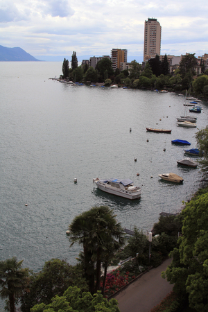 and magnificent: The magnificent Lake Geneva in the summer. View from the city of Montreux, Switzerland