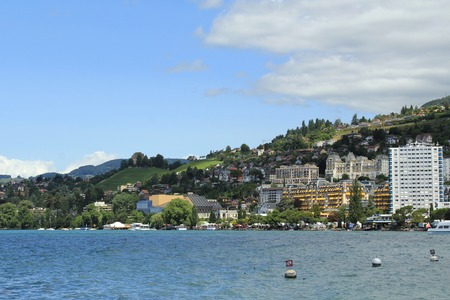 The magnificent Lake Geneva in the summer. View from the city of Montreux, Switzerland