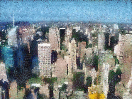 painted image: Painted image of Manhattan skyscrapers in New York, United States