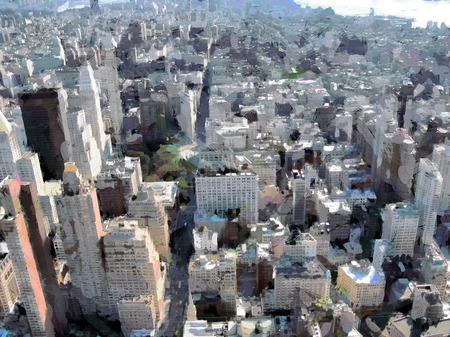 skyscrapers: Painted image of Manhattan skyscrapers in New York, United States