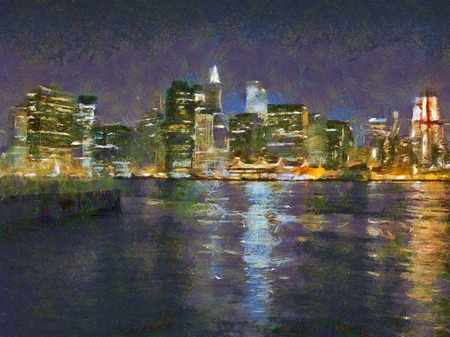 new york night: Picture of the big city at night. New York, USA. Illustration