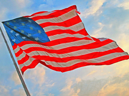 full color: Flag of the United States of America. Full color illustration Stock Photo