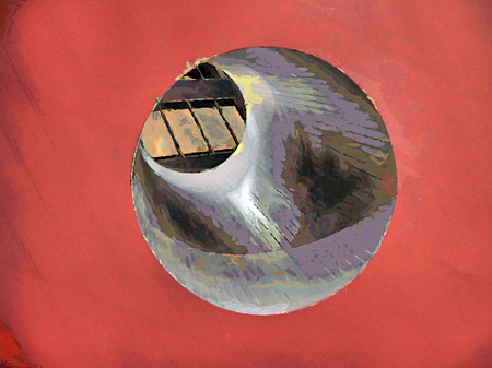 passage: Abstract Painting. Round passage through the red cube Stock Photo