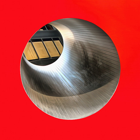 the passage: Abstract Painting. Round passage through the red cube Stock Photo
