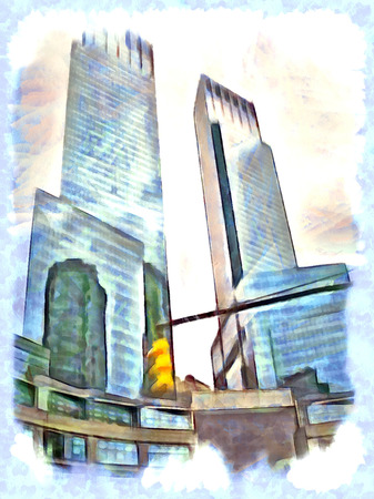 ny: Draw pictures of buildings and skyscrapers in the United States, Manhattan, New York