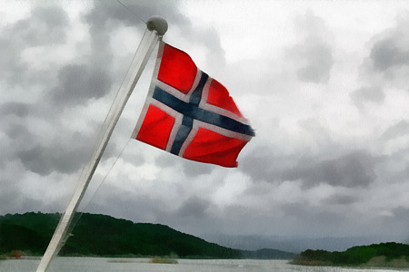 full color: The flag of the Kingdom of Norway. Full color illustration Stock Photo