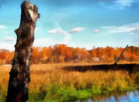 suburbs: Color painted illustration of colorful autumn in the suburbs Stock Photo