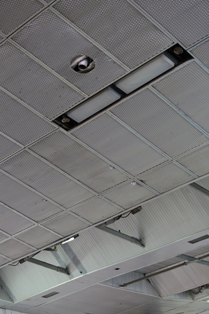 chiller: Ceiling with a professional industrial ventilation inside the factory Stock Photo