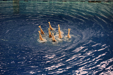 nataci�n sincronizada: Womens teams Championship in synchronized swimming at the indoor pool