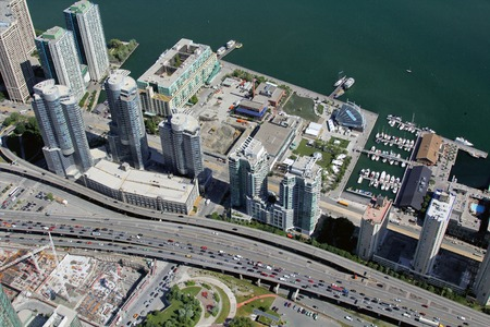 metropolis: Canadian metropolis Toronto hot summer aerial view