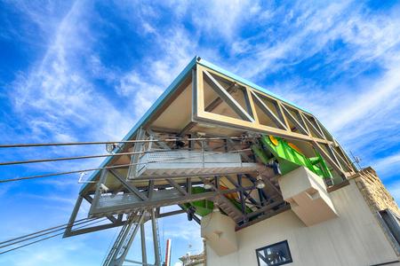 hoist: Powerful hoist cable car in San Marino on a sunny morning Stock Photo