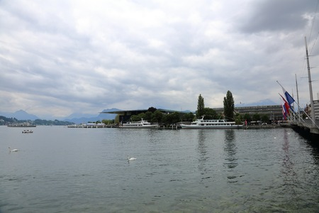 cantons: Picturesque Four Forest Cantons Lake in Lucerne, Switzerland Stock Photo