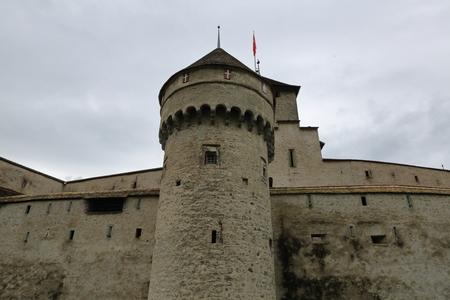montreux: MONTREUX, SWITZERLAND - JUNE 2, 2016: Chateau de Chillon at Lake Geneva coast