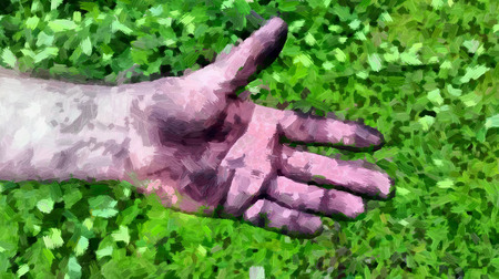 Adult mens hand smeared with charcoal, dirt and dust. Illustration