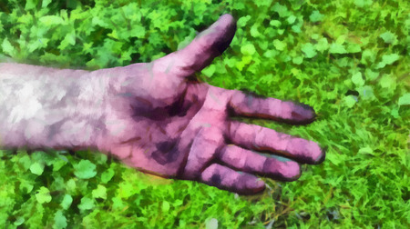 unsanitary: Adult mens hand smeared with charcoal, dirt and dust. Illustration
