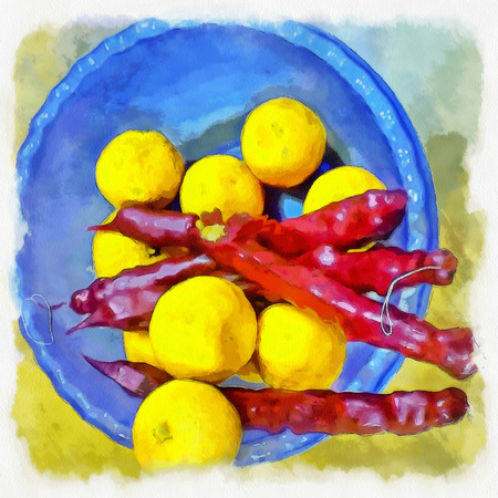 georgia: Lemons and georgian churchkhela in a blue bowl. Illustration