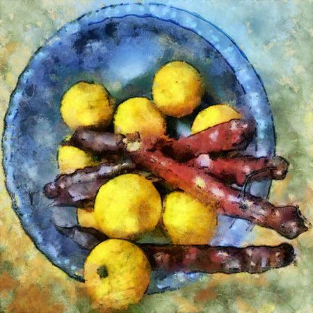 Lemons and georgian churchkhela in a blue bowl. Illustration