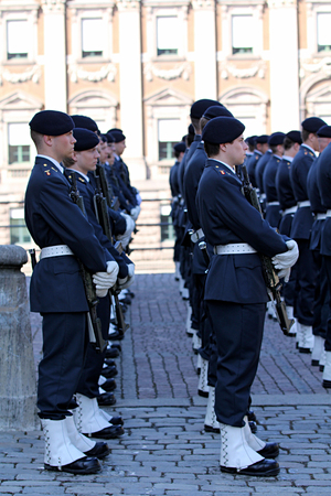 royal guard: STOCKHOLM, SWEDEN - APRIL 14, 2013: Swedish Royal Guard on parade on Palace Square Editorial