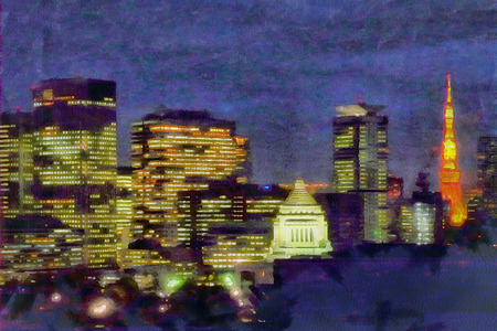painted image: Painted image of Japans capital, Tokyo at night. Illustration