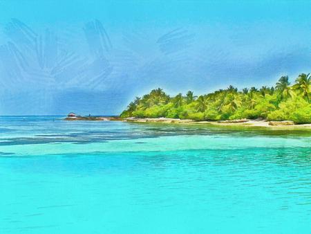 maldives island: Painted Maldivian island in the summer sunshine. Illustration